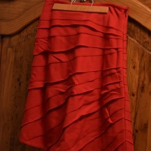 Red wool ruched A line skirt